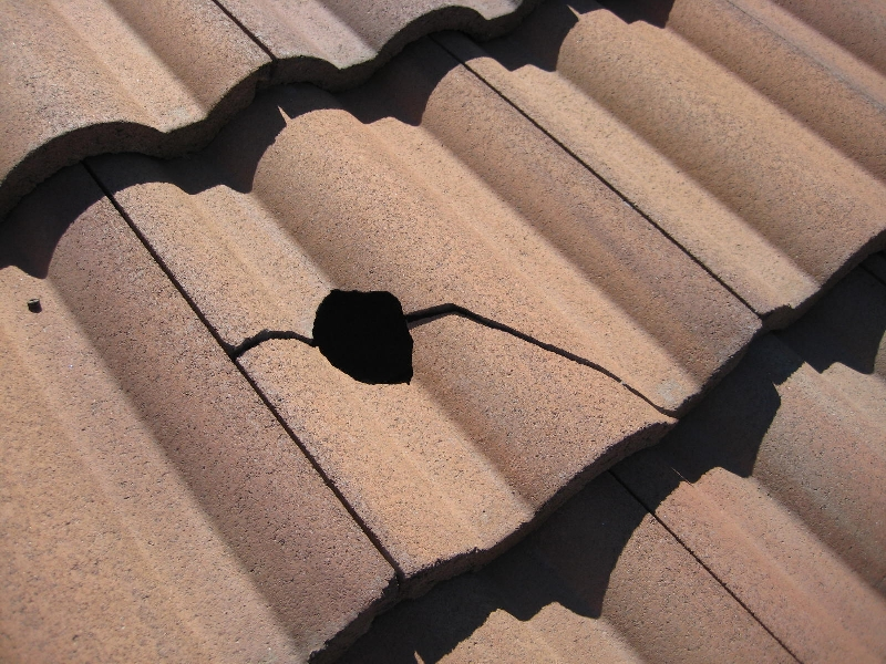 Golf ball damage on a roof at a San Diego home inspection