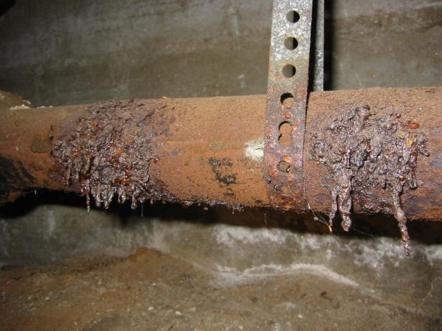 Deteriorated cast iron drain piping- La Jolla home inspection