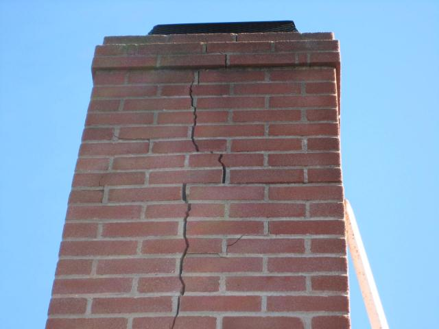 Seismic damage to chimney- Home inspection in San Diego- Fire hazard