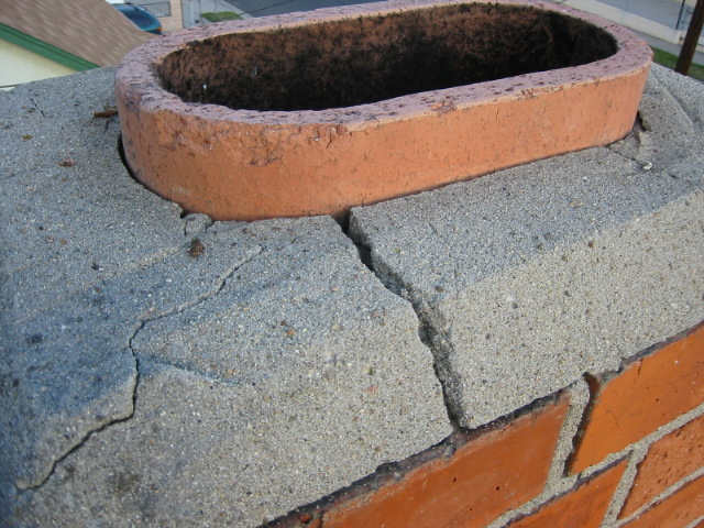 Cracked mortar at chimney top found during a Poway home inspection